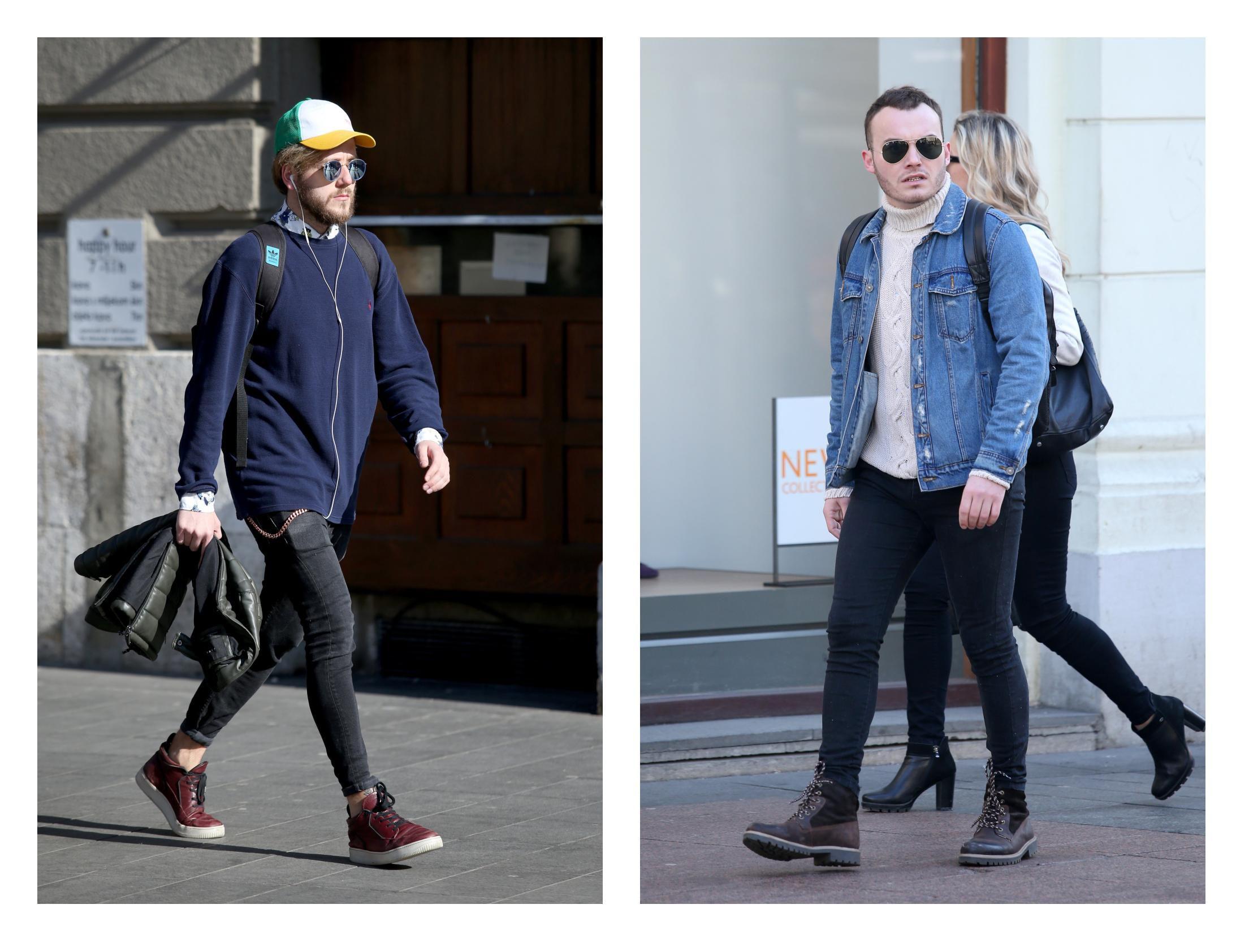 Dva frajera, dva različita outfita: Jedan u potfrknutim trapericama, a drugi u traper jakni