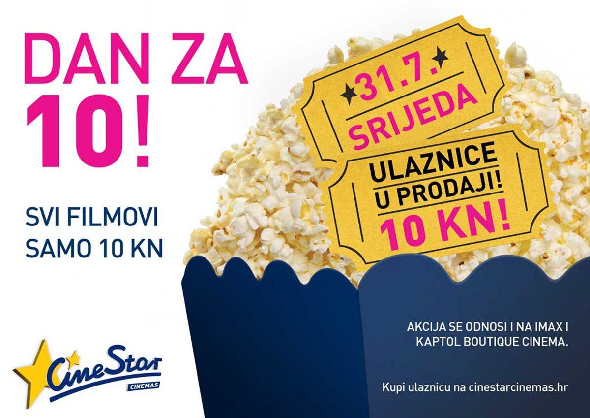 Sljedeća srijeda je dan za kino - svi filmovi u Cinestar kinima za samo 10 kuna