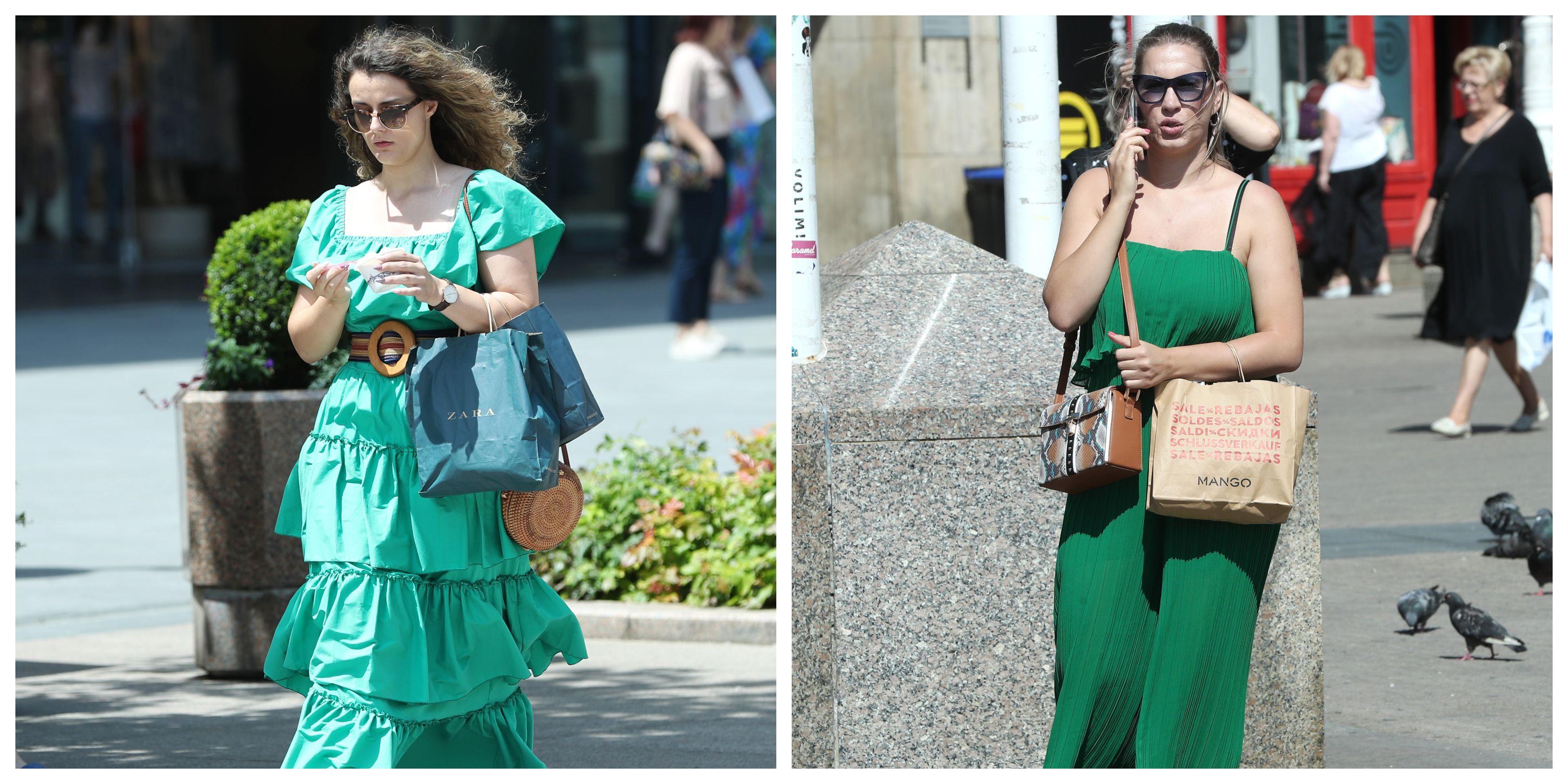 Dvije djevojke u zelenom prošetale gradom: Kome bolje stoji opuštajuća boja?