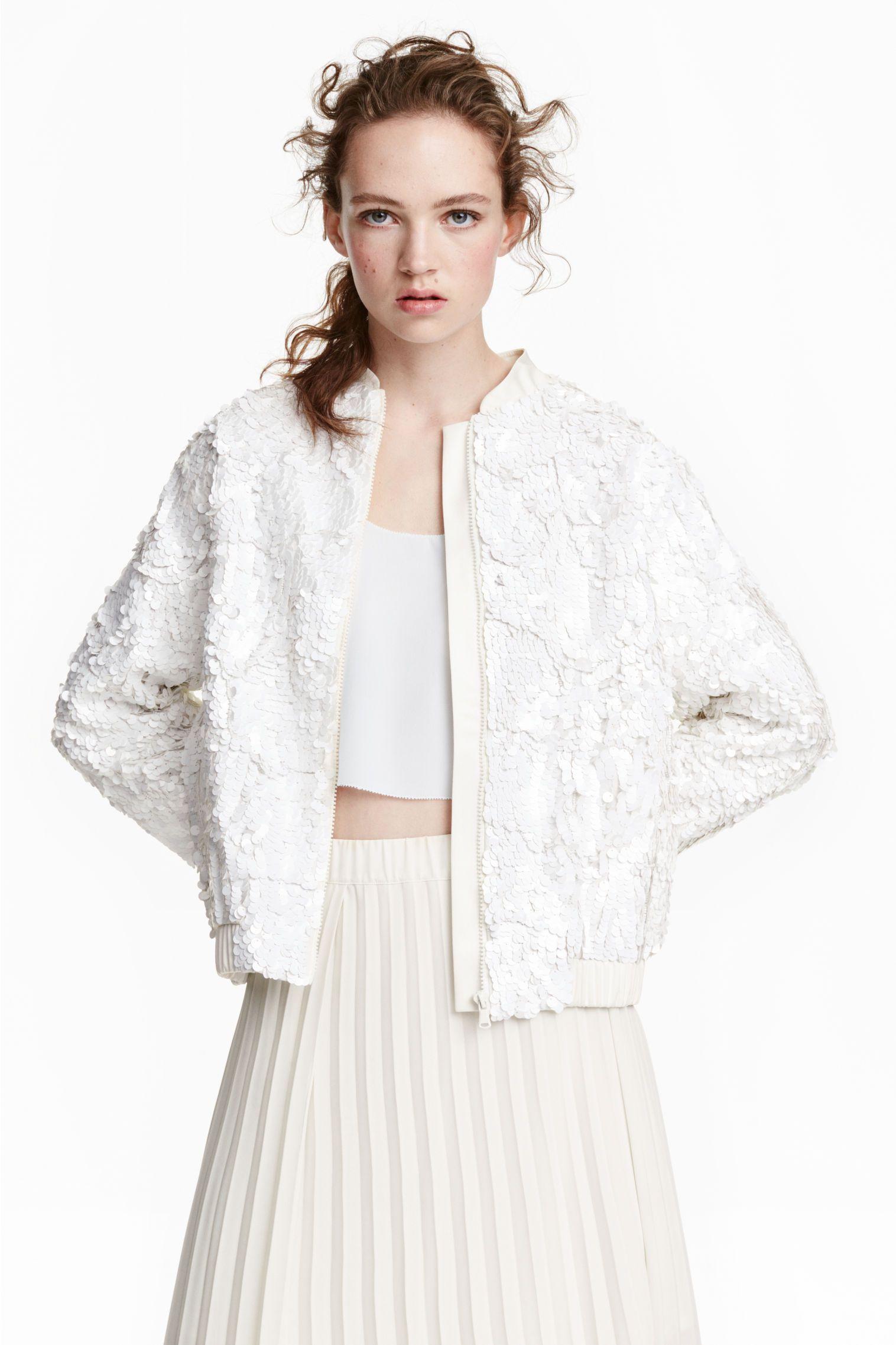 Wishlist: Bijela šljokičasta bomber jakna